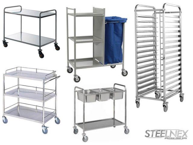 Помощни колички от неръждаема стомана.